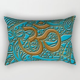 Brown on Teal Leather Embossed OM symbol Rectangular Pillow