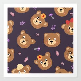 Bears & Mushrooms Pattern Art Print