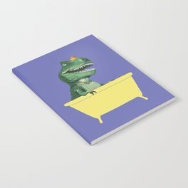 Playful T-Rex in Bathtub in Purple Notebook