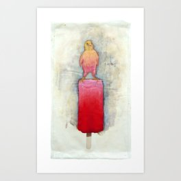 Watermelon Canary Popsicle Art Print