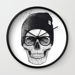 Black Skull in a hat Wall Clock