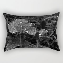 Raindrops of leaf, black and white Rectangular Pillow