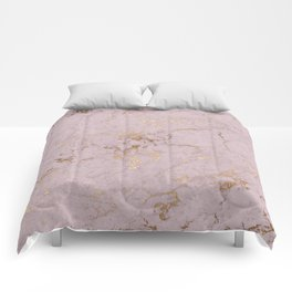 Chic mauve pink gold elegant stylish marble Comforters
