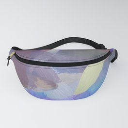 brush painting texture abstract background in purple blue brown Fanny Pack