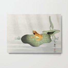 Frog on Lotus leaf - Japanese vintage woodblock print Metal Print