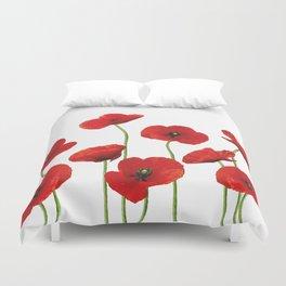 Poppies Field white background Duvet Cover