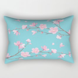 Cherry Blossom - Robin Egg Blue Rectangular Pillow