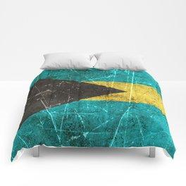Vintage Aged and Scratched Bahamas Flag Comforters