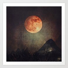 Moon over Dark Mountains Art Print