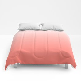 White to Coral Gradient Comforters