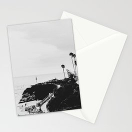 Laguna Beach | LoFi Black and White Relaxed Aesthetic Pink Sunset Palm Trees Hippie Ocean Waves Stationery Cards