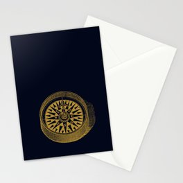 The golden compass I- maritime print with gold ornament Stationery Cards