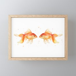 Goldfish Love Watercolor Fish Painting Framed Mini Art Print