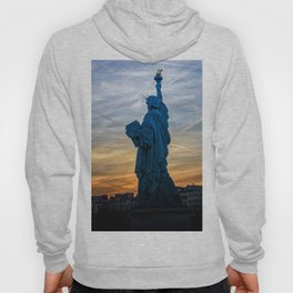Sunset over Replica of the Liberty Statue in Paris Hoody