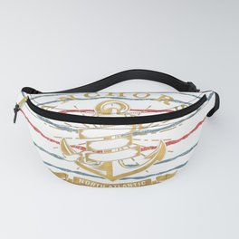 Maritime Design - Nautic Vintage Anchor on stripes in blue and red Fanny Pack