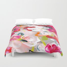 Dream flowers in pink rose floral abstract art Duvet Cover