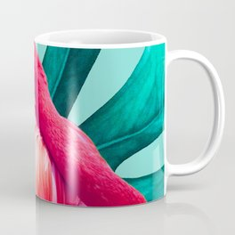 Pop Pink Flamingo on Teal Monstera  Coffee Mug