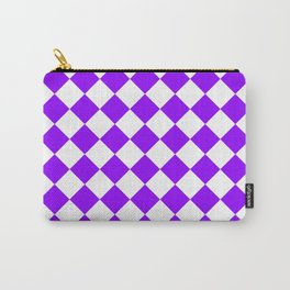 Diamonds - White and Violet Carry-All Pouch
