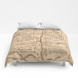 Vintage Map of The Battle of Bull Run (1861) Comforters