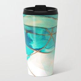 Teal on Silk Metal Travel Mug