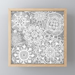 Soft Grey Mandala Pattern Framed Mini Art Print