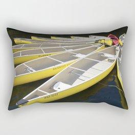 Tethered Yellow Canoes at Lost Lake in Whistler British Columbia Rectangular Pillow