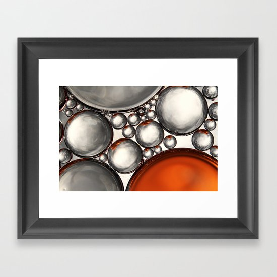 Mercury and Bronze Bubble Abstract Framed Art Print