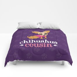 Chihuahua Cousin Pet Owner Cute Dog Lover Purple Comforters