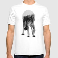 Wolf In The Woods (black & white version) Mens Fitted Tee White MEDIUM