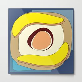 Abstract banana and egg - digital art fantasy on a blue background Metal Print