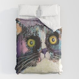 Big eyed tuxedo cat Bettbezug