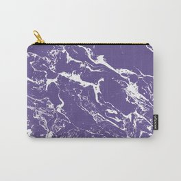 Modern trendy purple ultra violet  white marble  pattern Carry-All Pouch