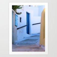 Steps in Santorini Art Print