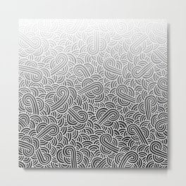Faded black and white swirls doodles Metal Print