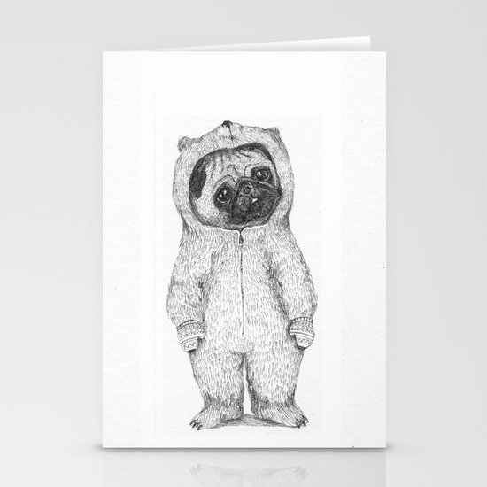 Winter pug Stationery Cards