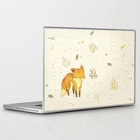 blanket Laptop & iPad Skins featuring Lonely Winter Fox by Teagan White