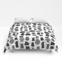 Black + Grey Pottery on White Comforters