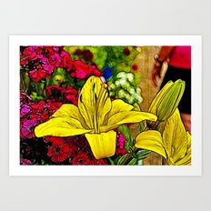 Fractal Yellow Lily Art Print