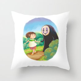 Chihiro and No-Face Throw Pillow