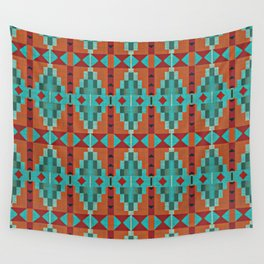 Orange Red Aqua Turquoise Teal Native Mosaic Pattern Wall Tapestry