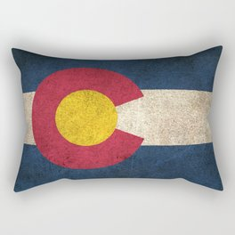 Old and Worn Distressed Vintage Flag of Colorado Rectangular Pillow