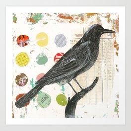 Black Bird Collage 1 Art Print