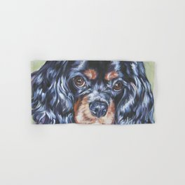 Beautiful black and tan Cavalier King Charles Spaniel Dog Painting by L.A.Shepard Hand & Bath Towel