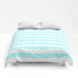 Narrow Horizontal Stripes - White and Celeste Cyan Comforters
