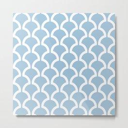 Classic Fan or Scallop Pattern 476 Light Blue Metal Print