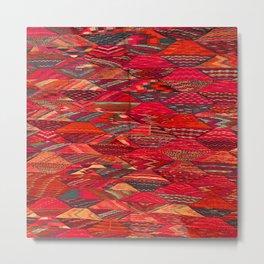 V35 Red Traditional Moroccan Artwork Pattern Metal Print