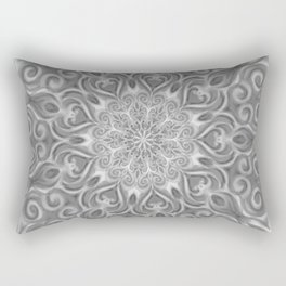 Gray Center Swirl Mandala Rectangular Pillow