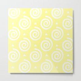 Happy Swirls Pattern on Yellow. Metal Print