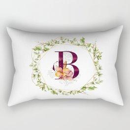 Modern Geometry Botanical Monogram B Rectangular Pillow