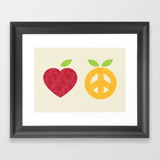 Apple and Orange - Love and Peace Framed Art Print